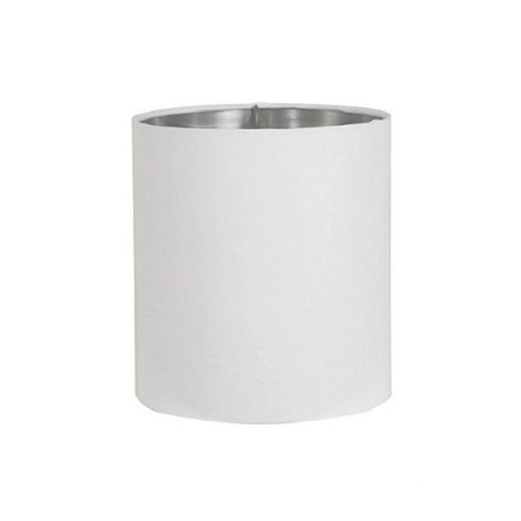 *Lampenkap Horn wit cilinder / zilver