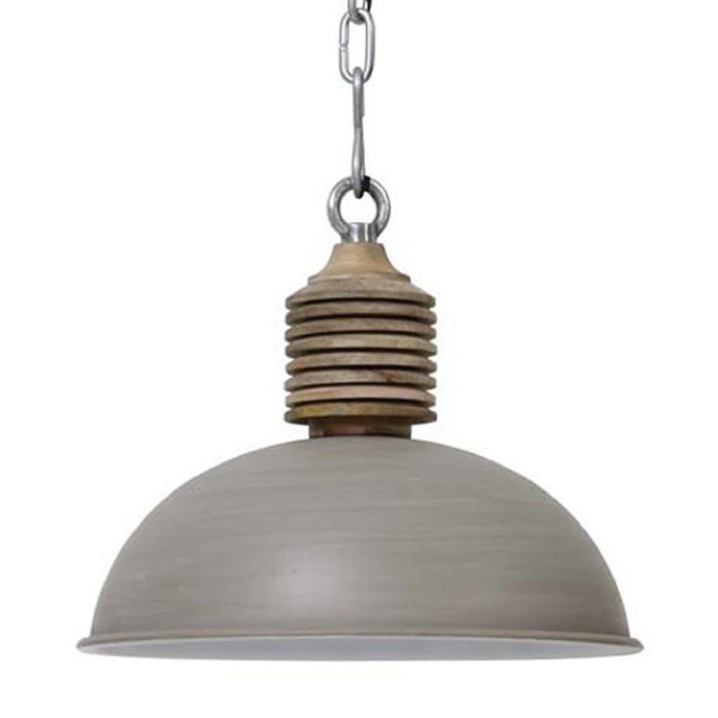 Light & Living hanglamp Avery grijs/hout