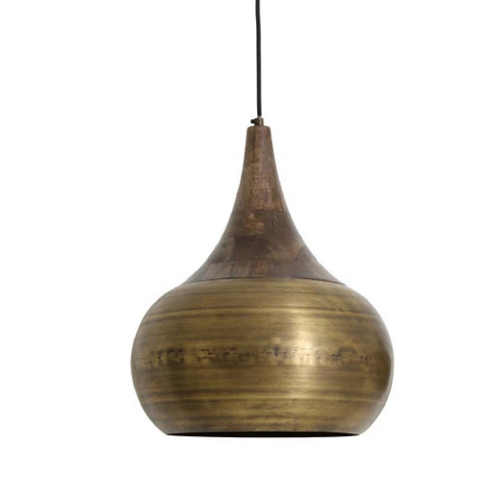 Light & Living hanglamp Saida brons/hout