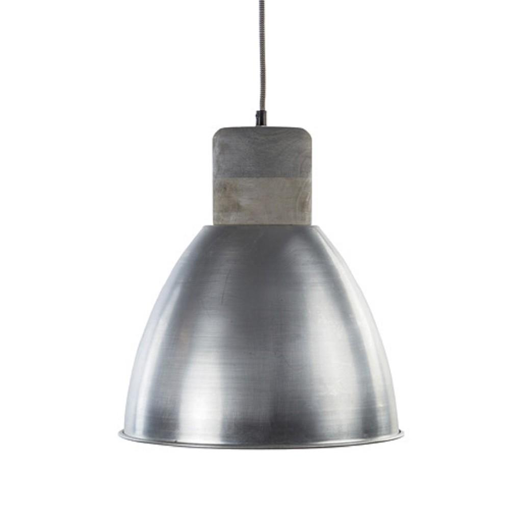 Hanglamp Ismay staal-houten knop