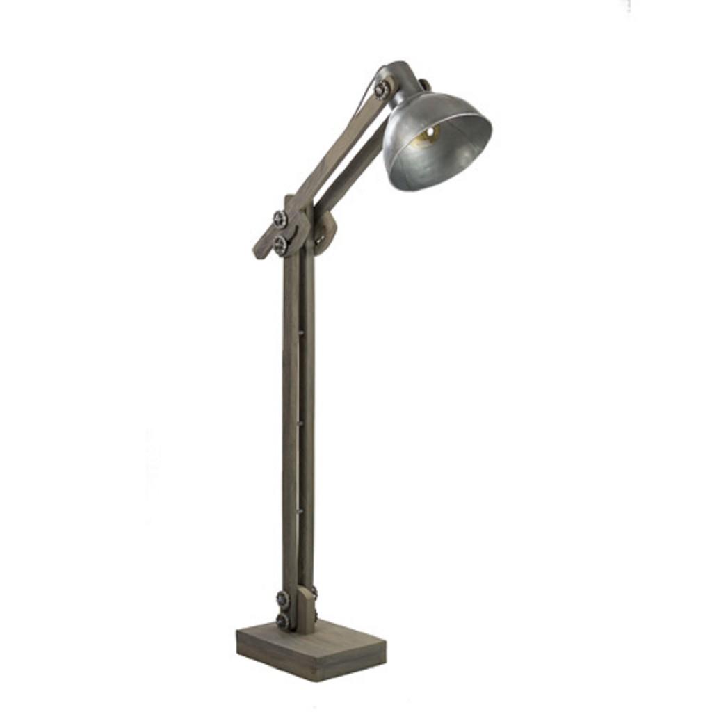 Grijze houten vloerlamp met staal