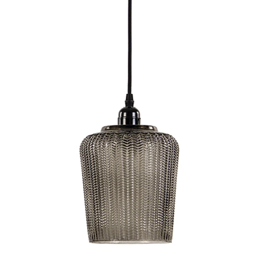 Glazen hanglamp klein met zwart snoer