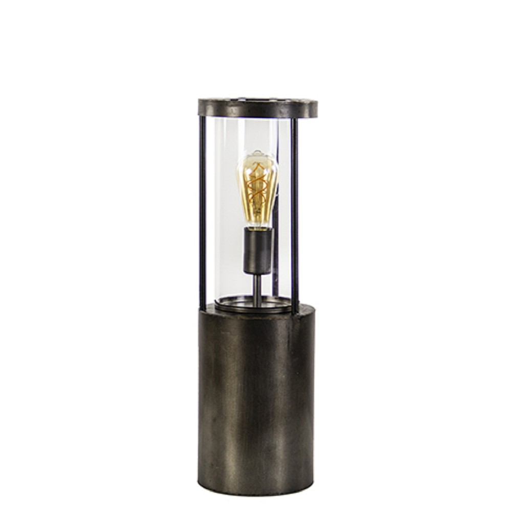 Grote tafellamp-lantaarn Takoda met glas