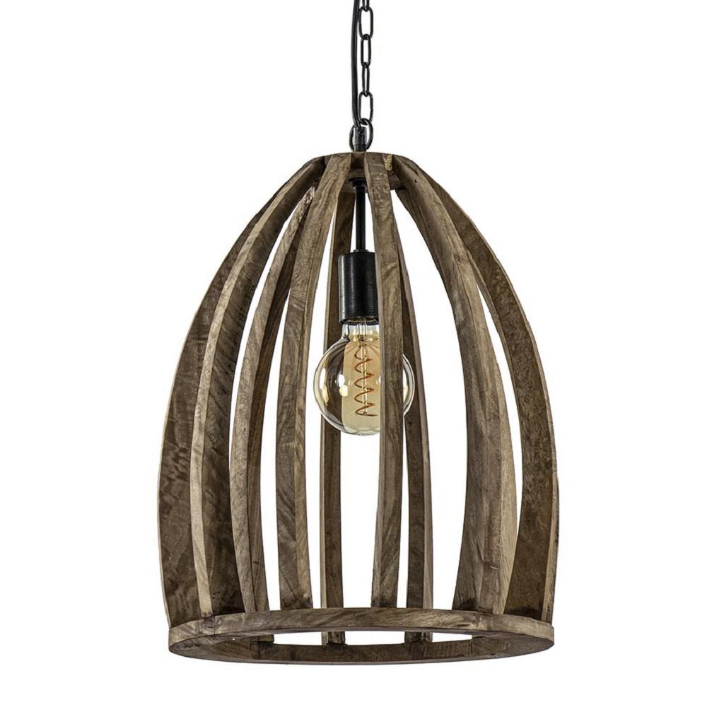 Landelijke hanglamp Haranka hout met metaal L&L