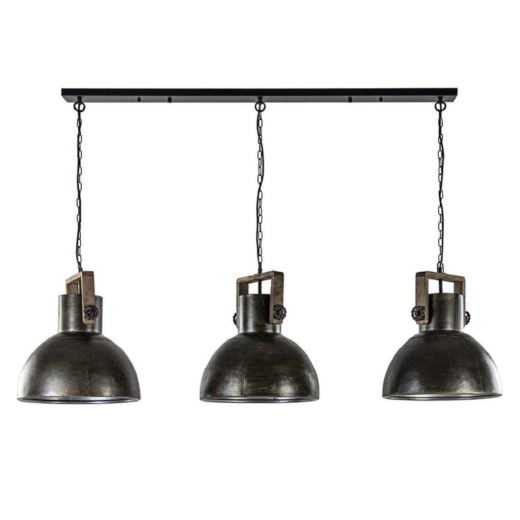 3-Lichts hanglamp Shelly landelijk metaal met hout