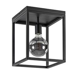 Plafondlamp zwart open frame