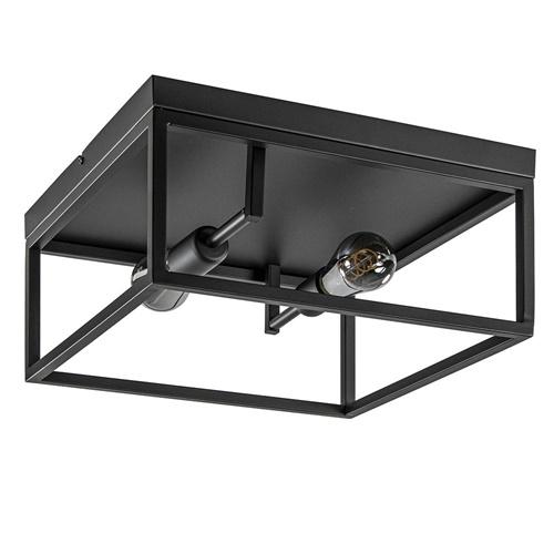 Plafondlamp vierkant zwart open frame