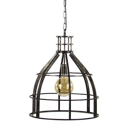 Metalen hanglamp groot zwart antiek