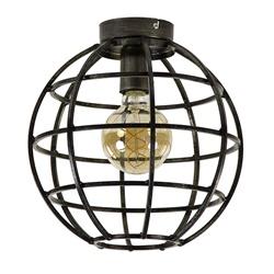 Plafondlamp globe fram zwartstaal
