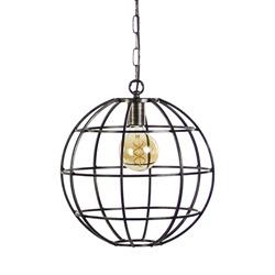 Industriele hanglamp globe zwartstaal 36