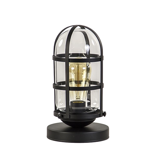 Tafellamp kooi zwart met glas