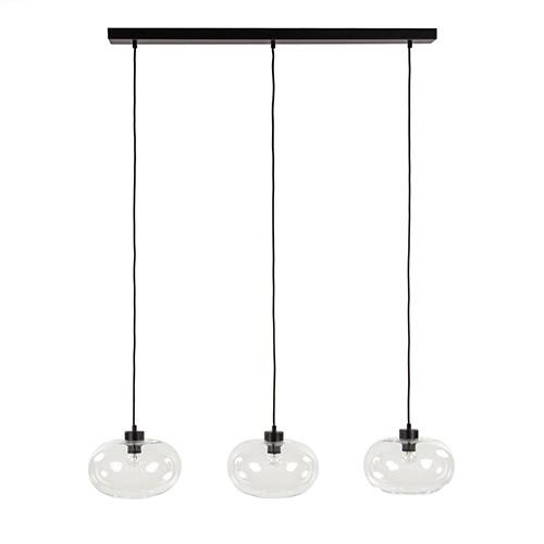 Eettafel hanglamp glas met zwart snoer