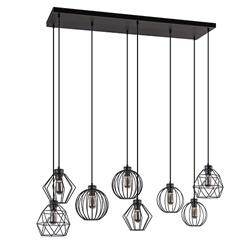 Grote hanglamp met 8 draadlampen- multipendel
