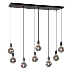 Hanglamp 8L plaat 110cm zwart ex.e27 lb
