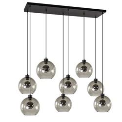 Hanglamp plaat 8-L zwart glas smoke 25cm
