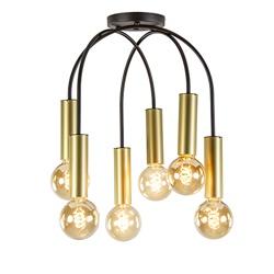 6-L plafondlamp zwart/goud excl. bron
