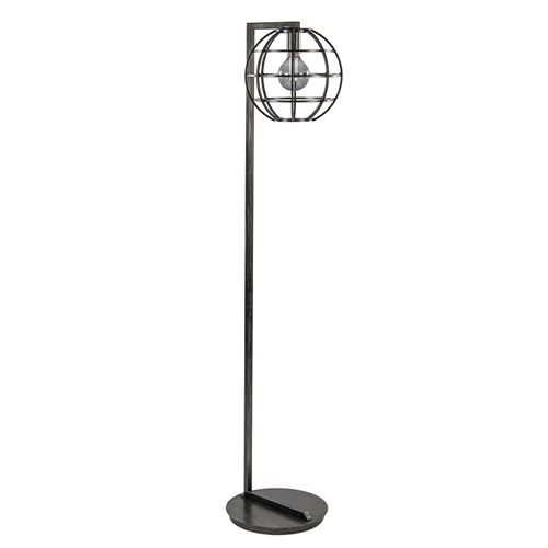 Landelijke vloerlamp globe kap metaal