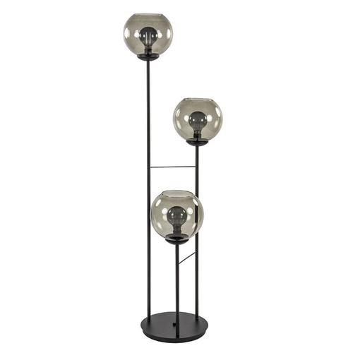 Vloerlamp 3-L zwart met bolglas smoke