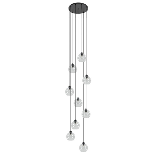 Videlamp / multipendel 9L zwart helder bolglas
