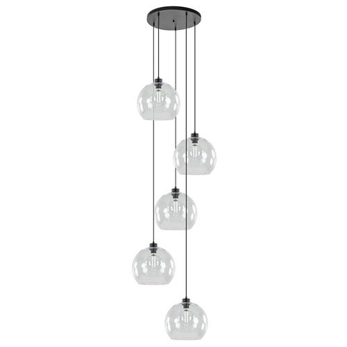 Videlamp / multipendel zwart met 5 helder glazen bollen
