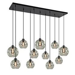 Hanglamp multipendel 11-L zwart smoke glas 20+25cm