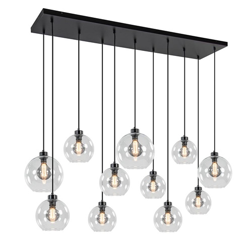 Grote hanglamp zwart 11- lichts multipendel helder glas