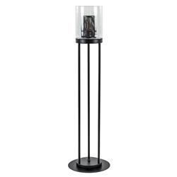 Cilinder vloerlamp mat zwart met helder glas