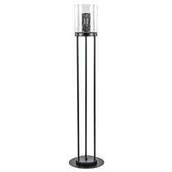 Zwarte vloerlamp met cilinder kap helder glas