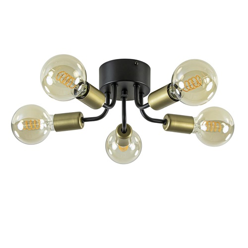 Chique plafondlamp mat zwart met goud