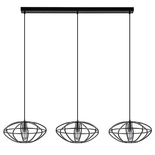 3-Lichts hanglamp metalen kooi ovaal mat zwart