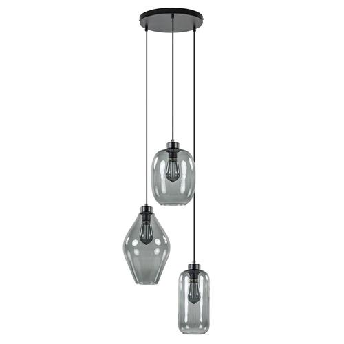 Luxe 3-lichts hanglamp rond met gemixt smoke glas