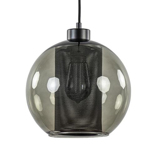 Smoke glazen hanglamp bol met zwarte gaas cilinder