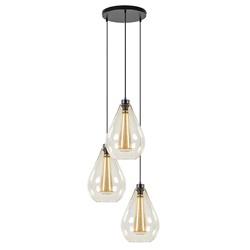 Ronde 3-lichts hanglamp amber glas met zwart