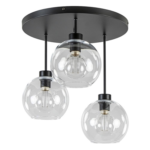 Moderne plafondlamp zwart met 20 cm helder glas