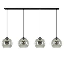 Grote 4-lichts hanglamp zwart met smoke glazen bollen