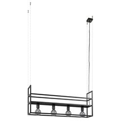 4-lichts hanglamp frame met plank mat zwart