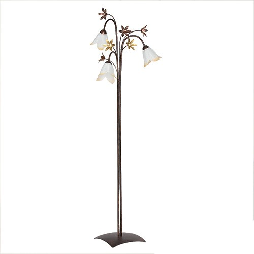 Klassieke vloerlamp bruin met bloemen straluma - Klassieke vloerlamp ...