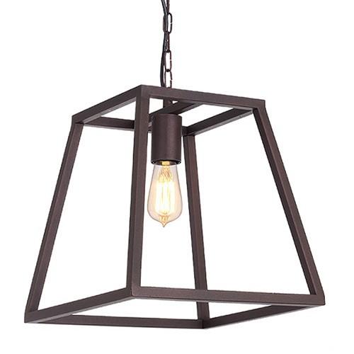 *Lantaarn hanglamp landelijk bruin frame