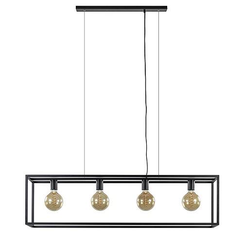 Eettafel hanglamp balk zwart open frame