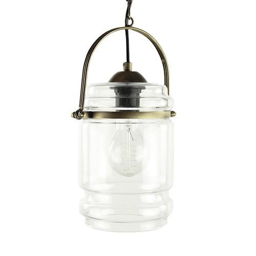 Klassieke lantaarn hanglamp glas-brons