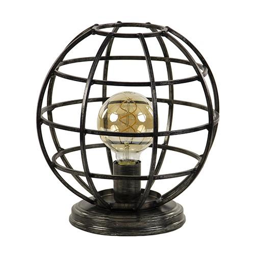 Globe tafellamp donker metaal