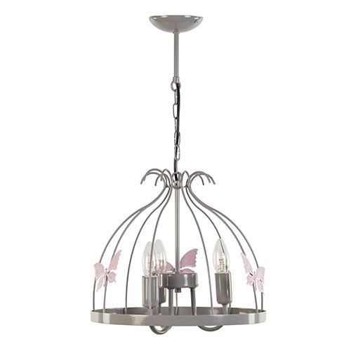 *Grijze hanglamp-kroon met vlinders