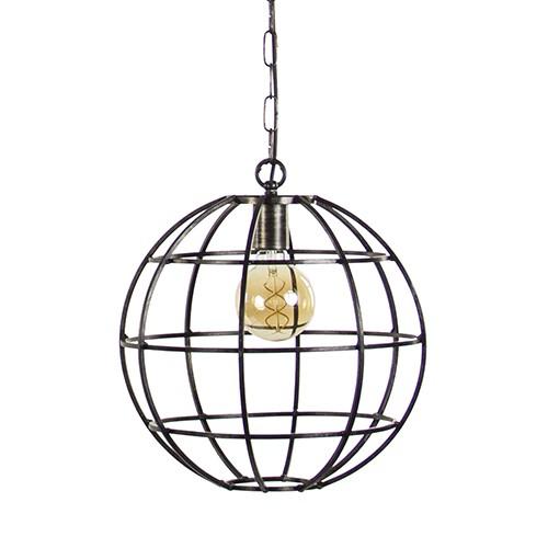 Ronde industriele hanglamp metaal globe