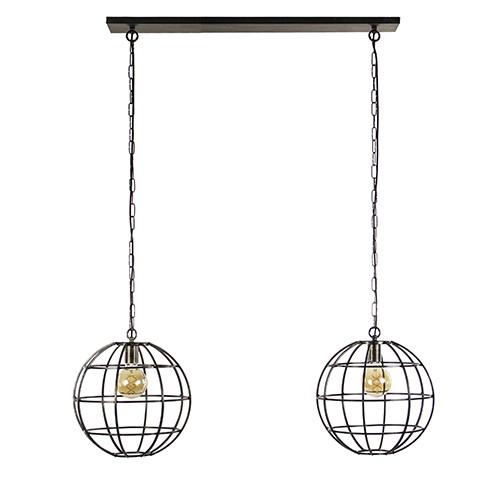 Eettafel hanglamp 2-lichts globe metaal