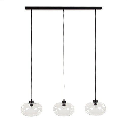 *Eettafel hanglamp glas met zwart snoer