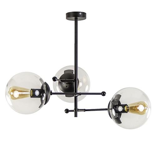 Plafondlamp zwart + 3x helder glasbol