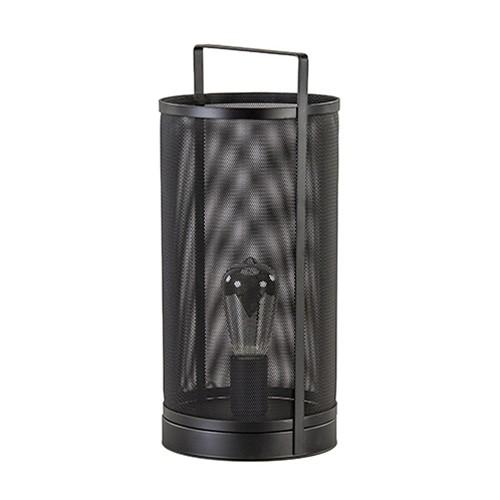 Zwart metalen tafellamp gaas rond