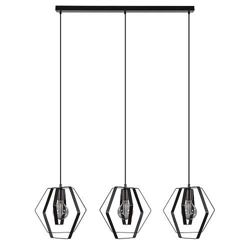 Hanglamp 3-lichts hexagon zwart metaal