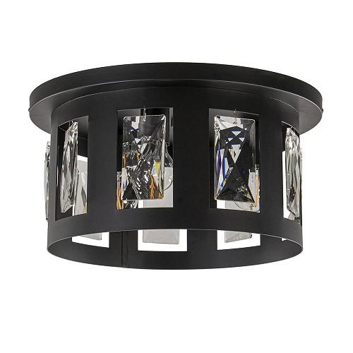 Plafondlamp zwart groot/glas pegels