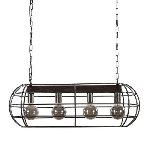 Industriële hanglamp kooi antiek zwart